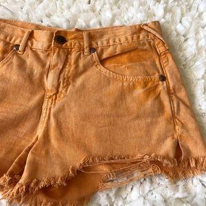 Orange Free People Denim Shorts